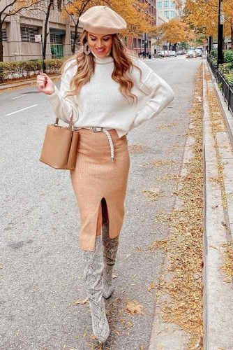 White Sweater With Pencil Beige Skirt #beret #pencilskirt