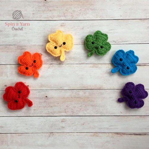 Rainbow Crochet Shamrock #crochet #rainbowdecor