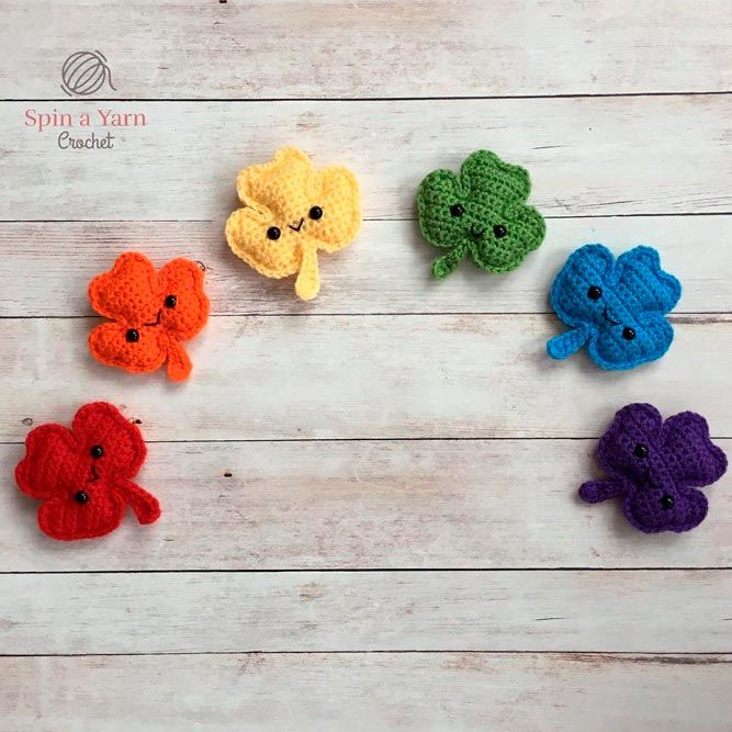 Rainbow Crochet Shamrock #crochet #rainbowdecor
