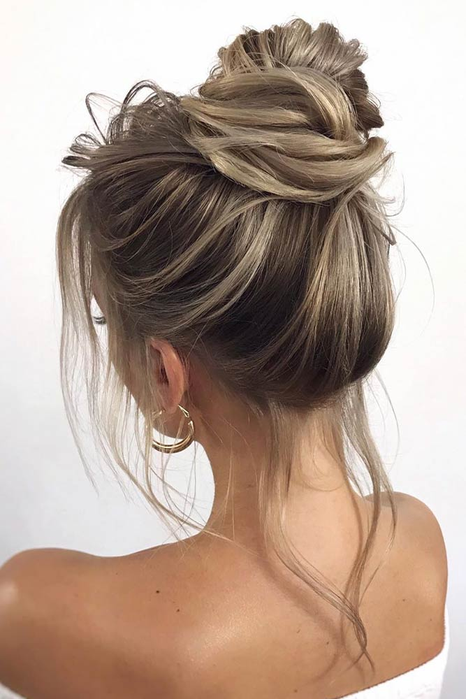 Messy High Bun Hairstyle #highbun #stylishhairstyles