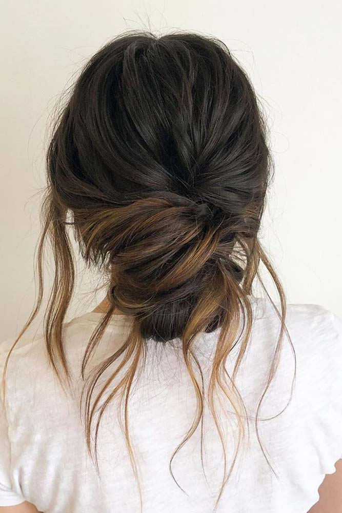 Messy Low Bun With Loose Strands #easyhairstyle #casualhairstyle