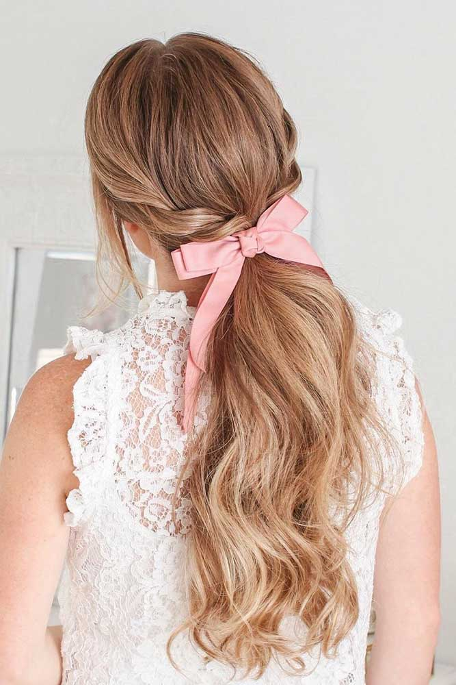 Low Ponytail With Ribbon #ponyhairstyles #ribbon