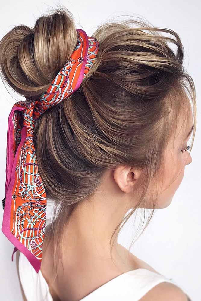 Chignon Hairstyles With Scarf #hairstyles #bunupdos