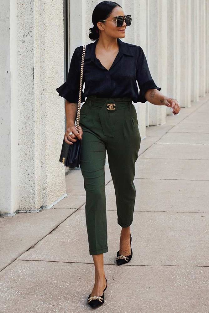 Khaki High Waisted Pants With Black Blouse Work Outfit #pants #blackblouse