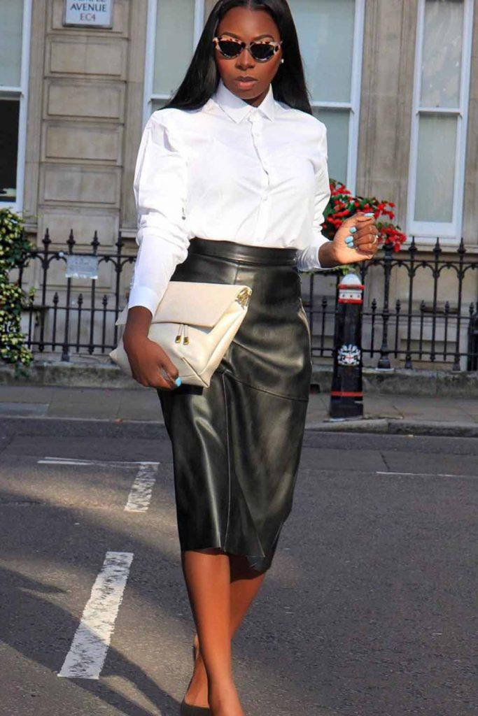 White Blouse With Black Leather Skirt #leatherskirt