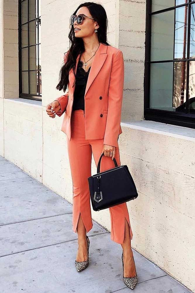 Coral Power Suit With Black Silk Top Outfit #coralpowersuit #blacktop