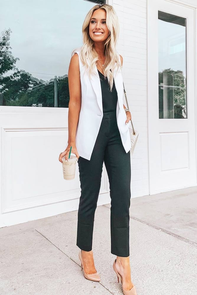 Black Trousers With White Vest Work Outfit #whitevest