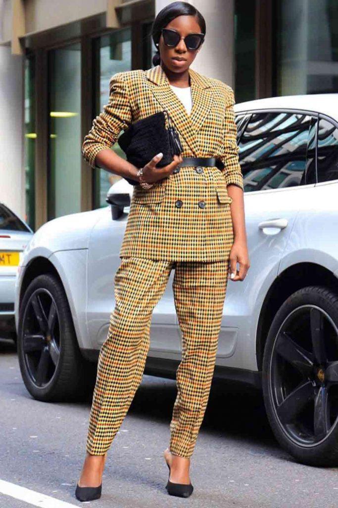 Plaid Suit Work Outfit #belt #plaidsuit