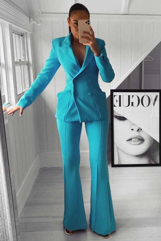 Blue Power Suit Outfit Idea #bluesuit