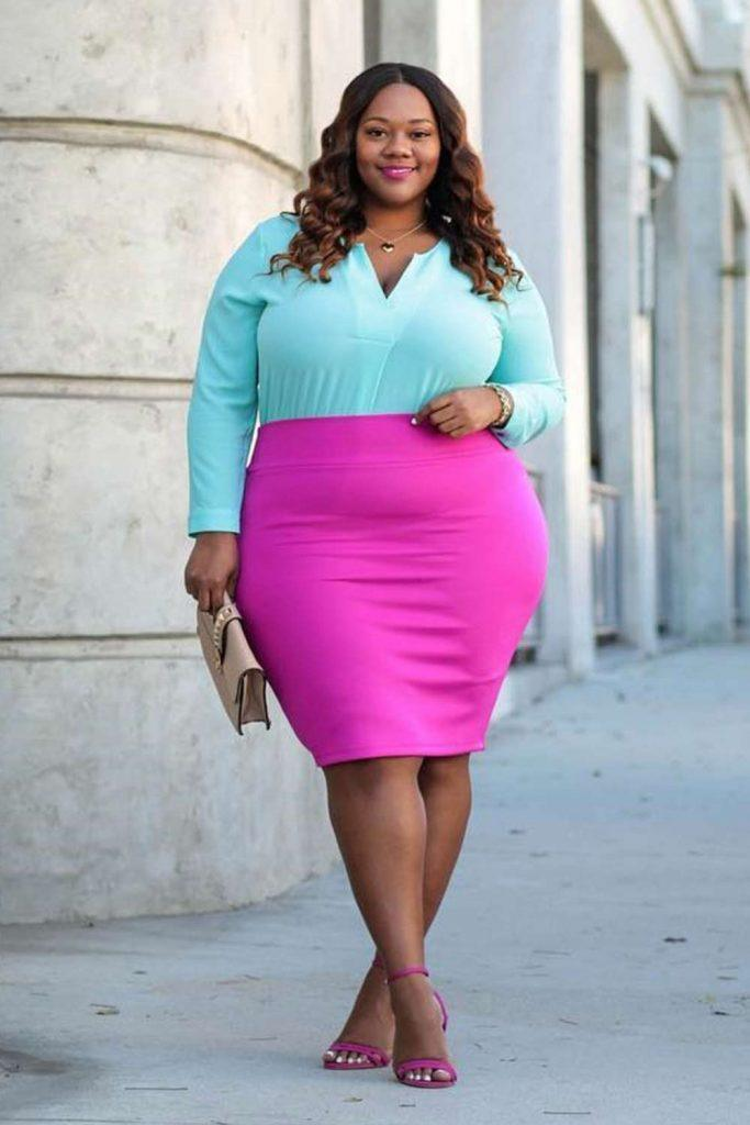 Blue Blouse With Pink Skirt #plussize #pinkskirt