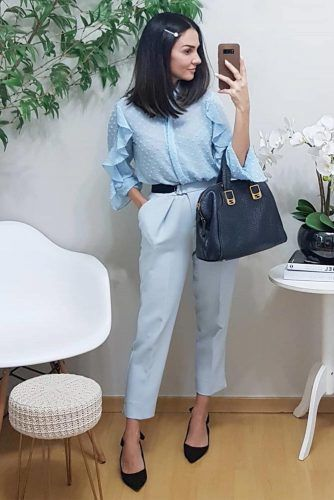 Pastel Blue Work Spring Outfit #trousers #blouse