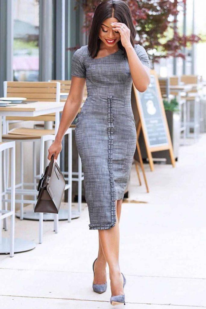 Gray Asymmetric Dress Outfit #graydress