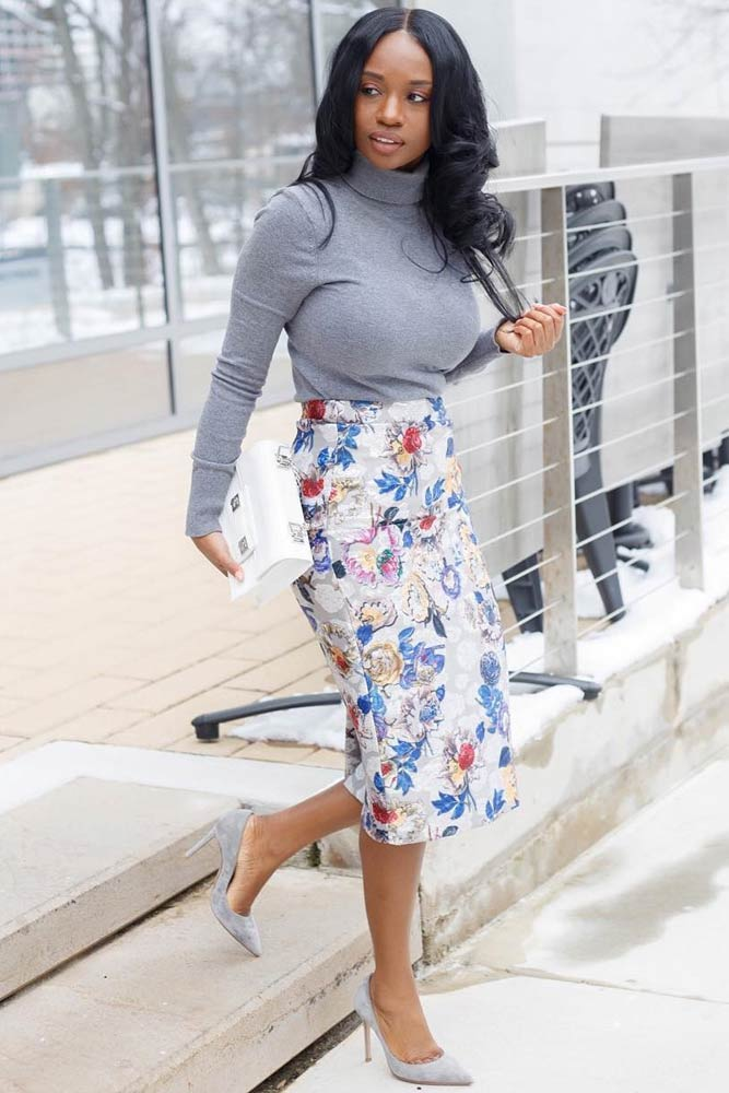 Work Outfit With Floral Skirt