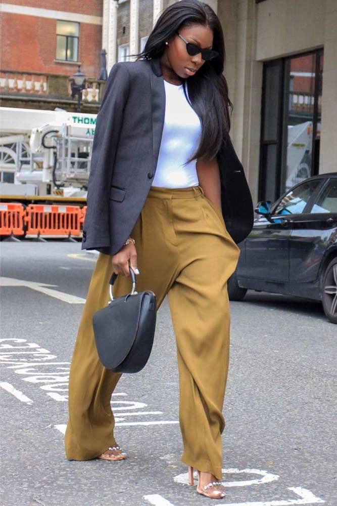 Wide Leg Pants With Jacket Outfit #formaljacket #colorfulpants