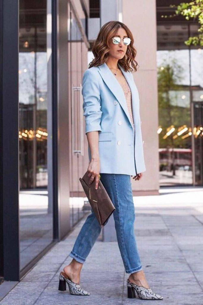 Cropped Jeans With Blue Blazer Outfit #blazer