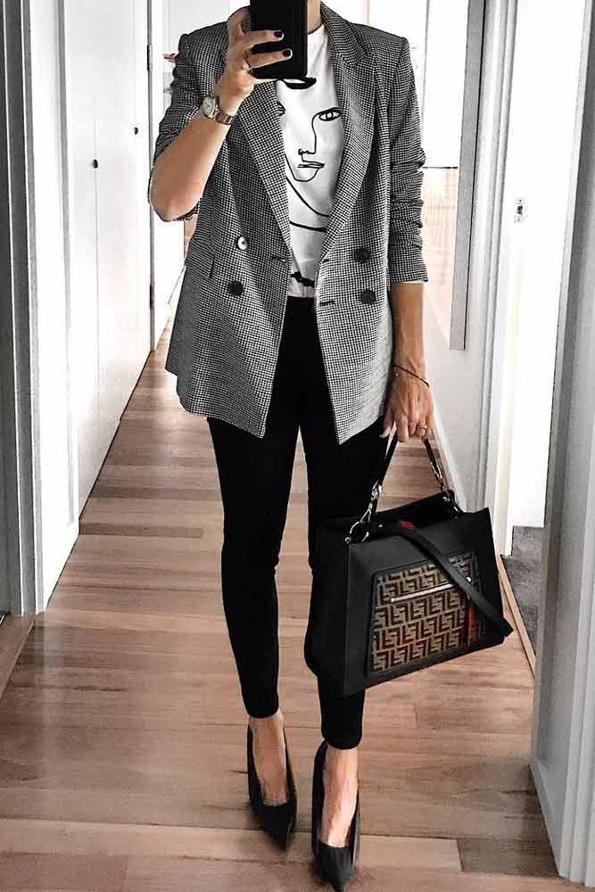 Black Skinny With Jacket Work Outfit #jacket