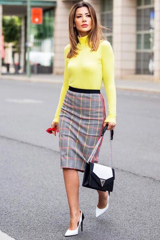 Yellow Turtleneck With Plaid Skirt Outfit #plaidskirt