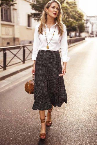 White Blouse With Black Print Skirt #polkadotsskirt