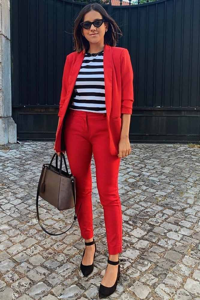 Red Power Suit For Work Outfit #stripedtop