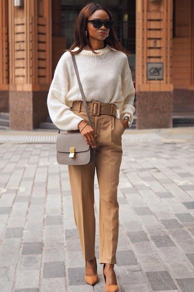 Beige Trousers With White Sweater Work Outfit #trousers #whitesweater