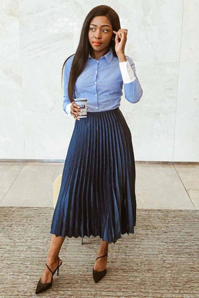 Midi Skirt With Classy Shirt #skirt