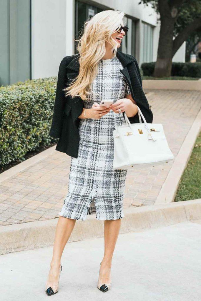 Tweed Dress Outfit #blazer #tweeddress