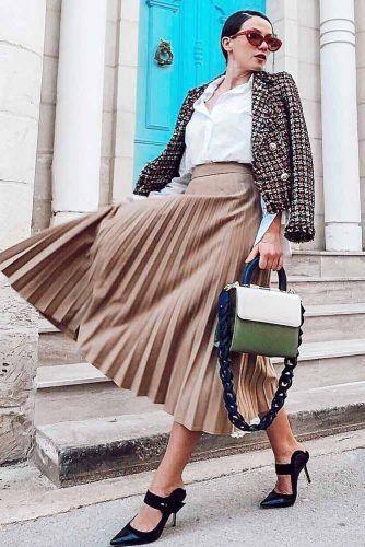 Pleated Skirt With Plaid Jacket Outfit Idea #pleatedskirt #whiteblouse