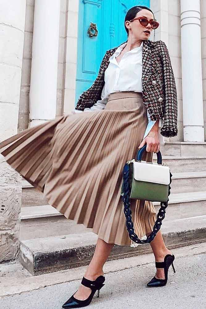 Pleated Skirt With Plaid Jacket Outfit Idea #pleatedskirt #whiteblouse