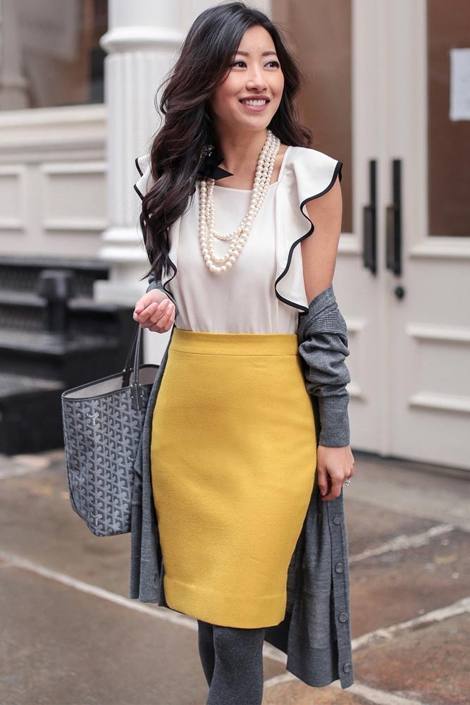 Yellow Pencil Skirt With White Blouse Outfit #whiteblouse