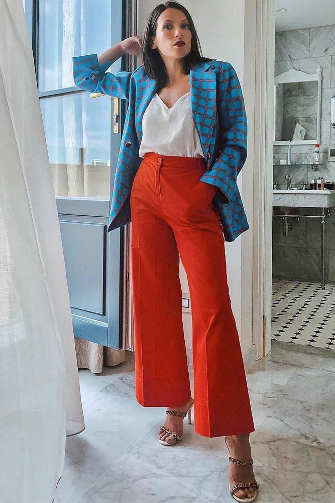 Plaid Jacket With Orange Trousers Work Outfit #whiteblouse #plaidjacket
