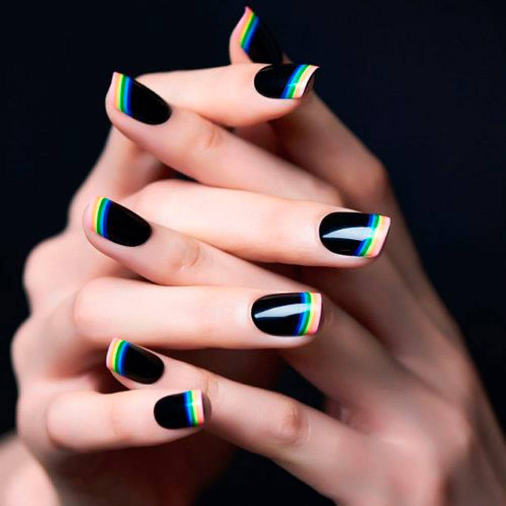 French Nails 2018: Rainbow On Black Base #blacknails #rainbownails