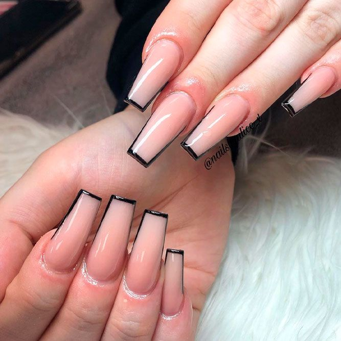 Trendy Square French Tips #trendynails