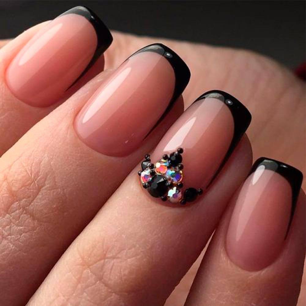 Classy Bling #shortnails #blackfrench