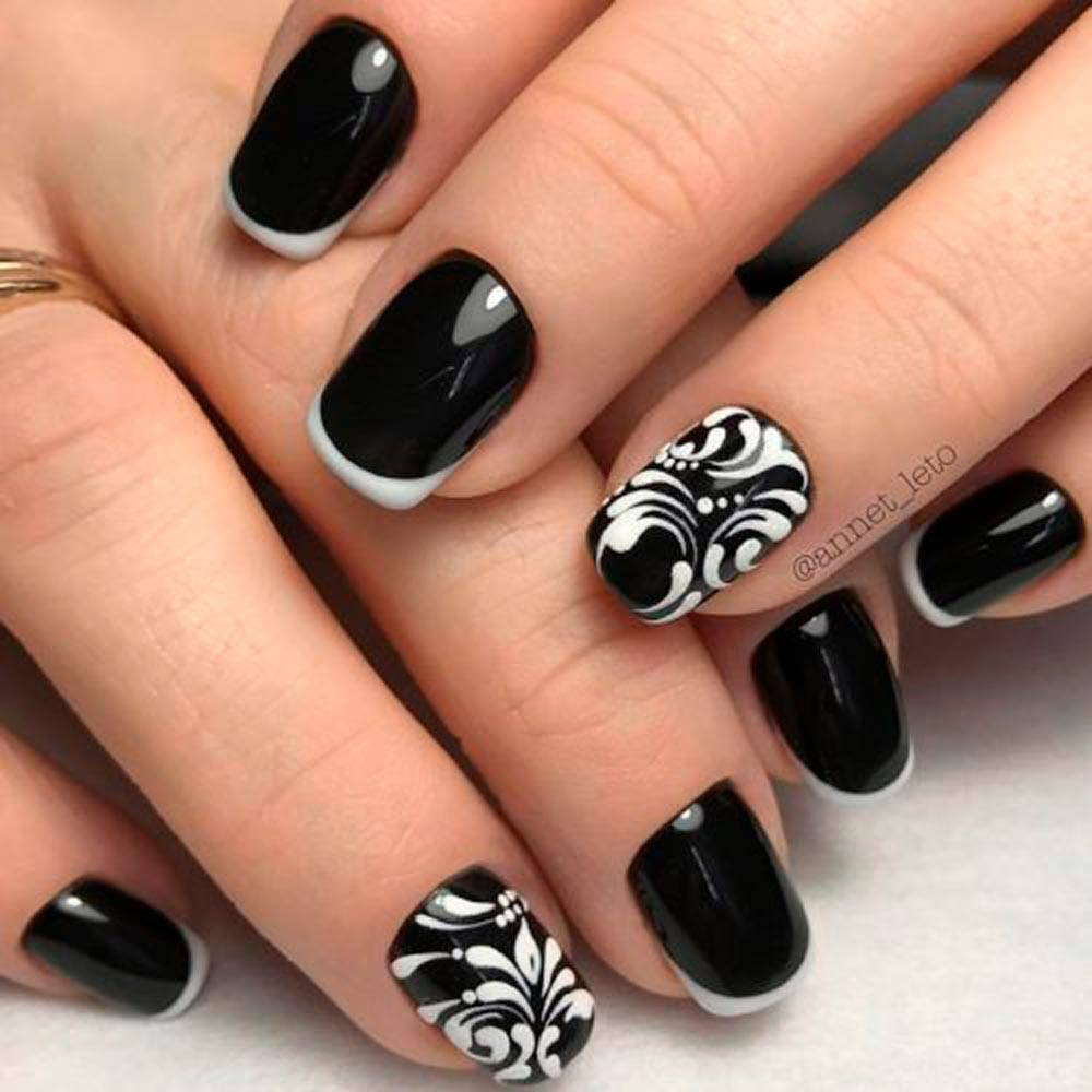 Black and White Mod Mani #blacknails #modmani