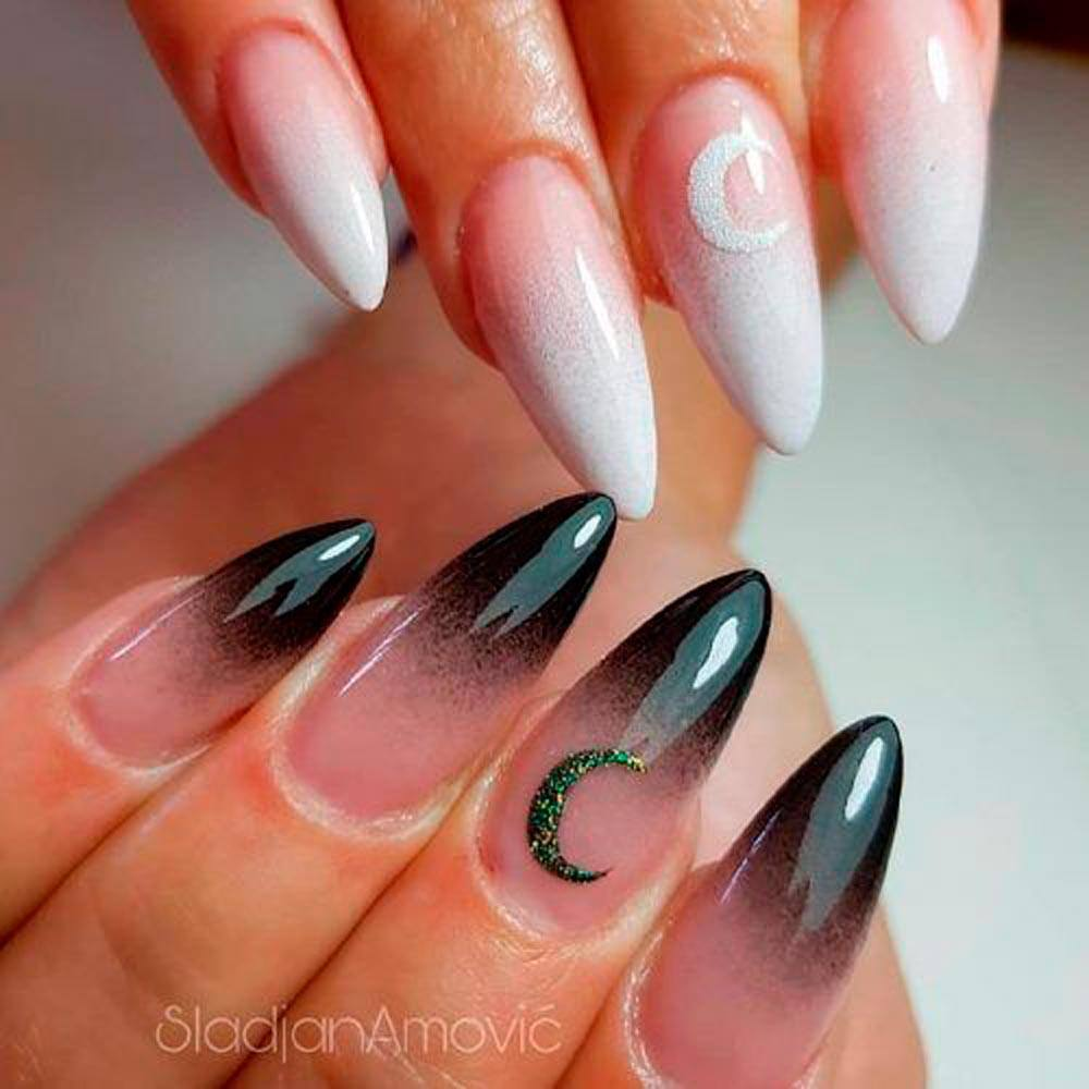 Black And White French Fade #ombrebnails #blacknails #whitenails