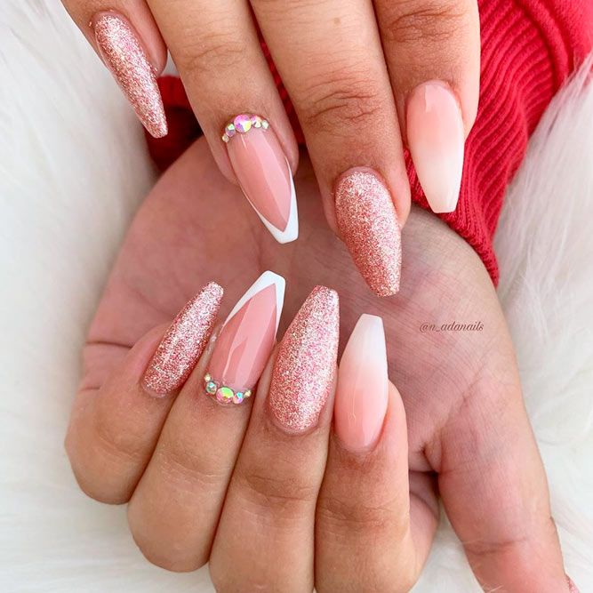 French Tips As Accent #glitternails