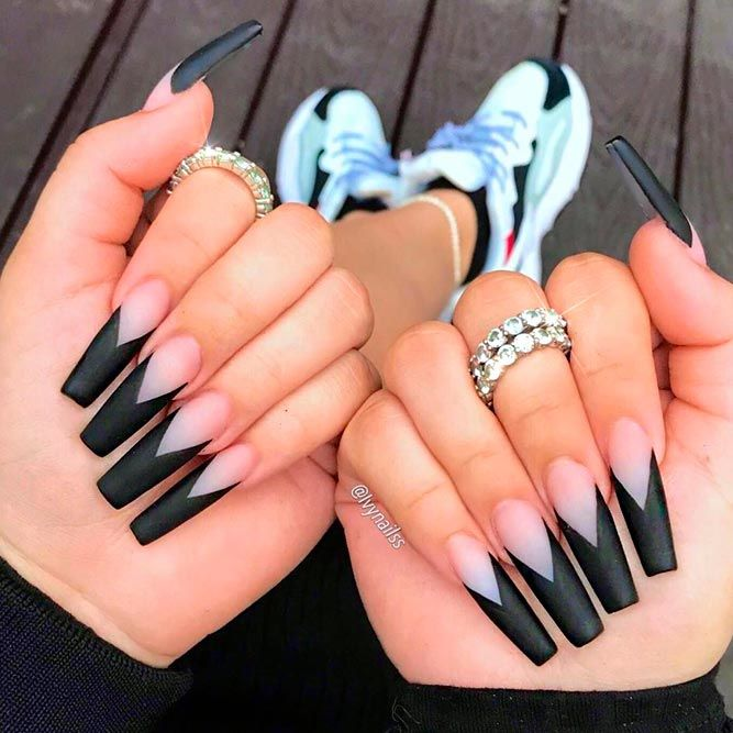 Thick Triangular Nail Tips #mattenails #blacknails