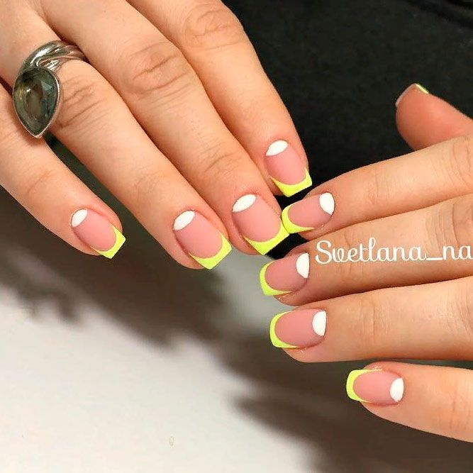 Matte Yellow French Tips #brightmani #mattenails