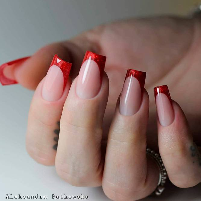 What Are The Different Types Of French Manicures? #rednails #shimmerynailart