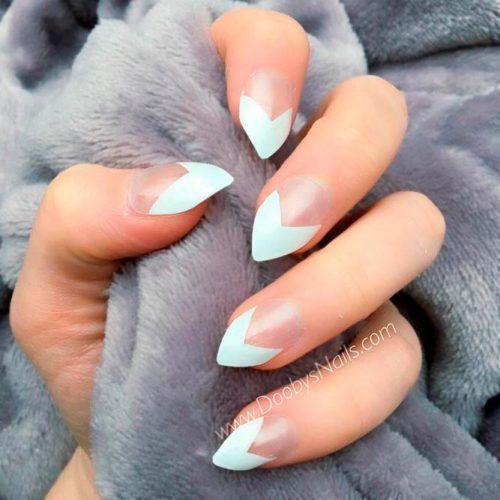 Stiletto Nails With Triangular French Tips #stilettonails #frenchnailstips