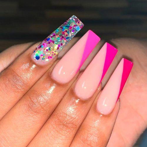 Unique Asymmetric French Nails #pinknails