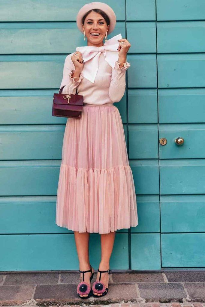 Pastel Pink Outfit With Tulle Skirt #tulleskirt #midiskirt