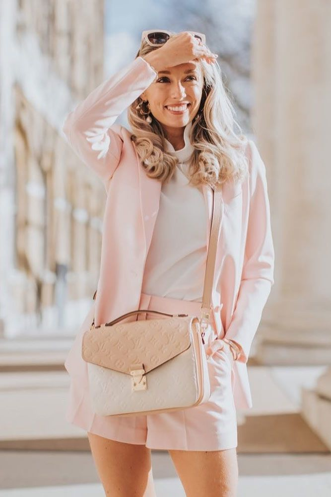 Blush Spring Suit Outfit #shorts #jacket