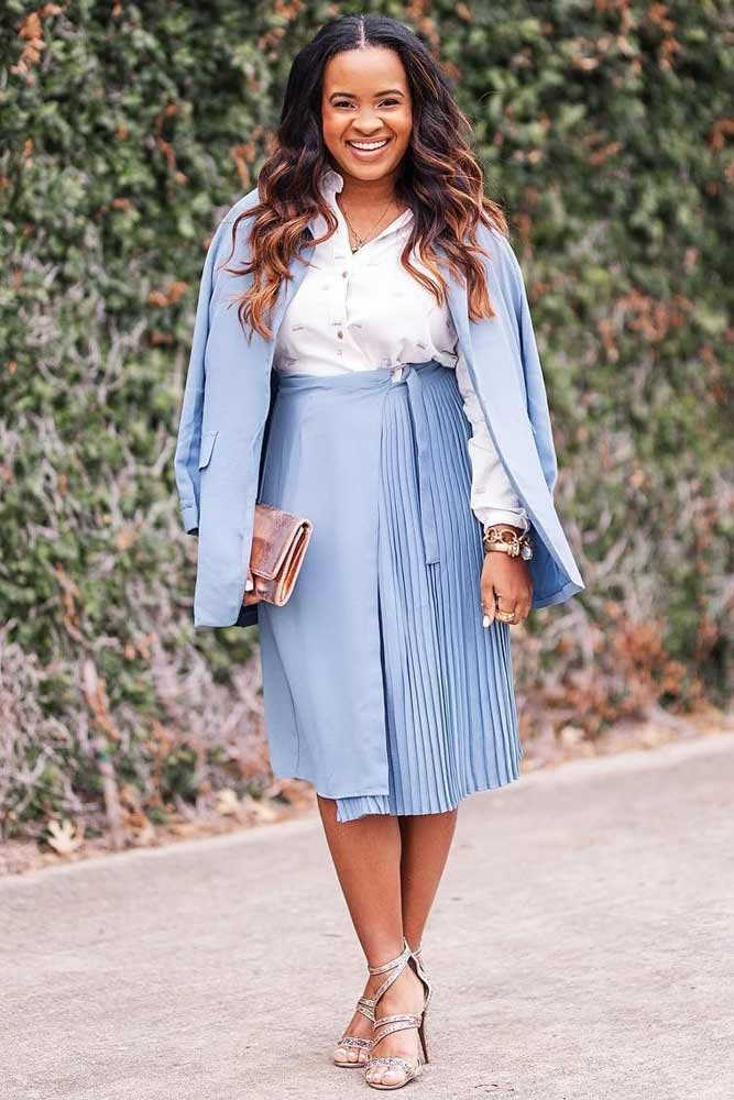 Blue Spring Suit #highwaistedskirt