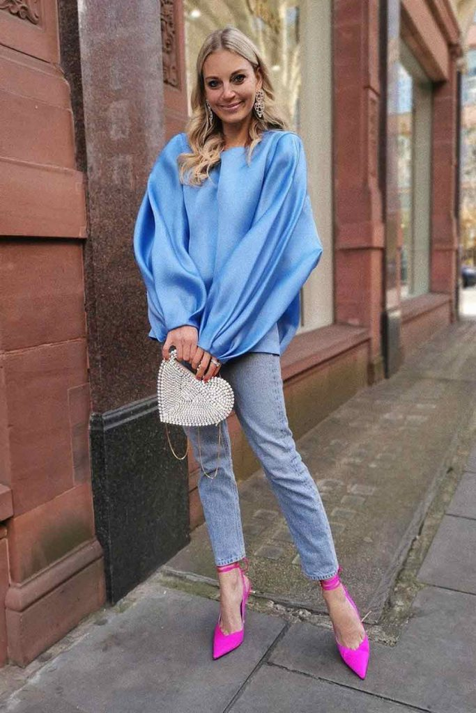 Blue Blouse With Jeans Outfit #blueblouse