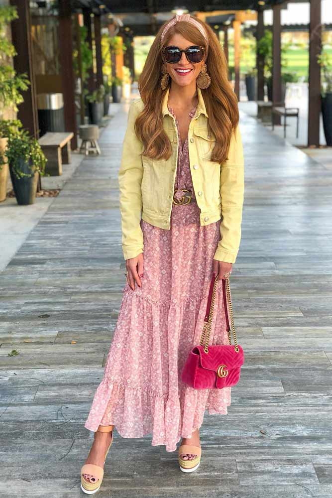 Maxi Floral Dress With Lemon Jacket #denimjacket #maxidress