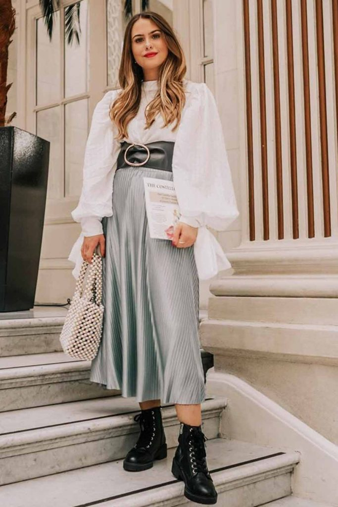Silk Midi Skirt With White Blouse #whiteblouse