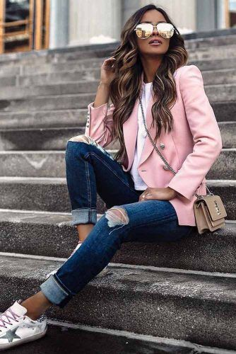 Casual Girly Outfit Idea #pinkjacket #rippedjeans