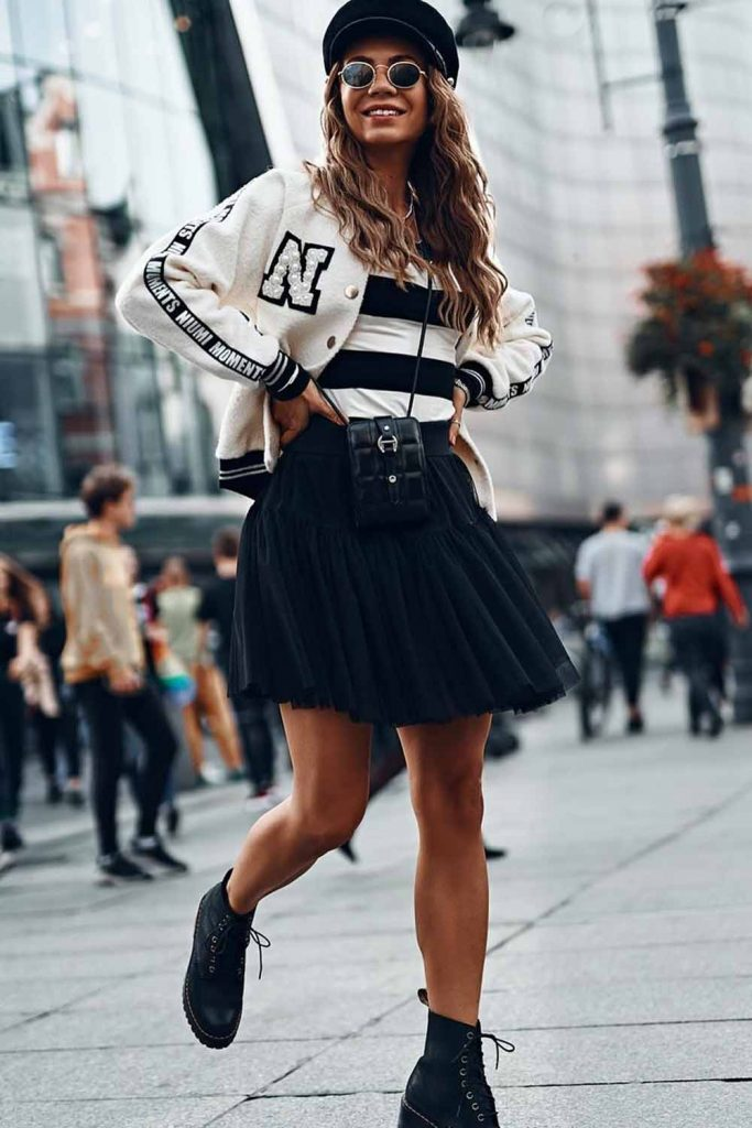 Black And White Outfit With Tulle Skirt #tulleskirt