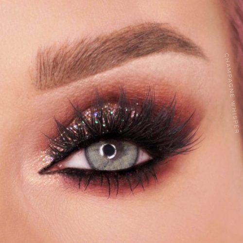 Glitter Smokey Makeup For Blue Eyes #glittershadow